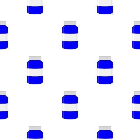 Illustration on theme big colored set different types of pills inside close jar. Pill pattern consisting of collection jars with quality control closed cap. Plastic jar open for drink laboratory pill.