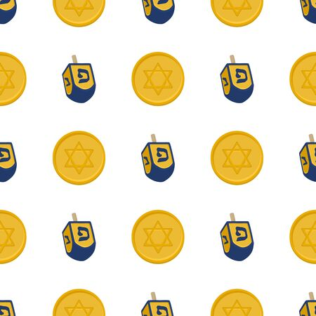 Illustration on theme big colored pattern Hanukkah, seamless set dreidel. Seamless pattern consisting of collection dreidel, accessory holiday Hanukkah. Seamless Hanukkah, pattern in old dreidel. Stock Illustratie