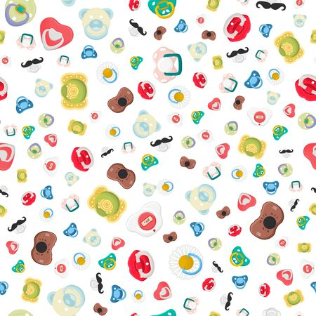 Illustration on theme seamless pattern baby pacifiers, dummy with rubber nipple. Baby pacifiers consisting of collection to newborn, good dummy nipple. Dummy nipple in pacifiers it baby care equipment