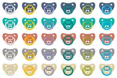 Illustration on theme big colored set baby pacifiers, dummy with rubber nipple. Baby pacifiers consisting of collection to newborn, good dummy nipple. Dummy in pacifiers it baby care equipment.