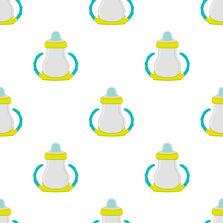 Illustration on theme colored kit baby milk in clear bottle with rubber pacifier. Baby milk bottle consisting of collection to newborn, good pacifier. Pacifier in milk bottle it baby care equipment.
