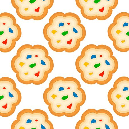 Illustration on theme big set identical biscuit, kit colorful pastry cookie. Cookie consisting of collectible natural tasty food biscuit, pastry accessory. Eat fresh pastry biscuit from same cookie.