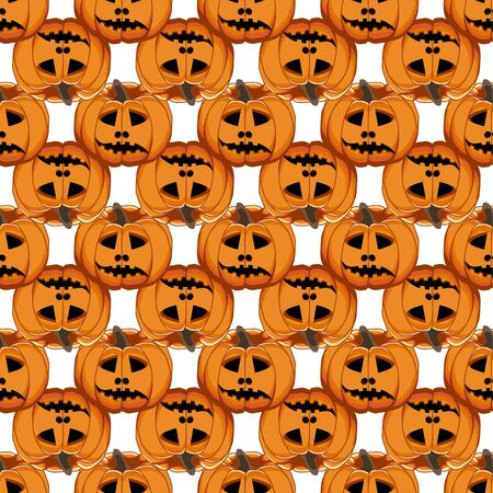 Illustration on theme big colored pattern Halloween, seamless orange pumpkin. Seamless pattern consisting of collection pumpkin, accessory at Halloween. Rare pattern Halloween from seamless pumpkin. Ilustrace