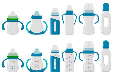 Illustration on theme big colored kit baby milk in bottle with rubber pacifier. Baby milk bottle consisting of collection to newborn, good pacifier. Pacifier in milk baby bottle it baby care equipment