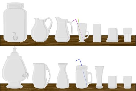 Illustration on theme big kit different types glassware, jugs various size. Glassware consisting of organic plastic jugs for fluid nutrition. Jugs standing on wooden table, many kitchen glassware. Ilustração Vetorial