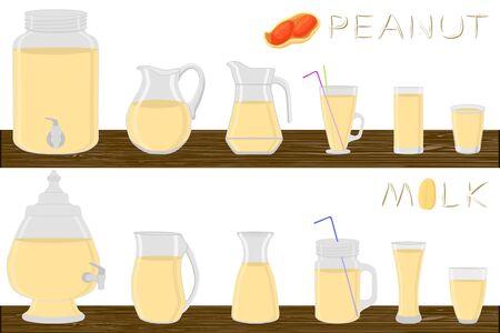 Big kit different types glassware, peanut milk in jugs various size. Glassware consisting of organic plastic jugs for fluid peanut milk. Jugs of peanut milk it glassware standing on wooden table. Ilustrace