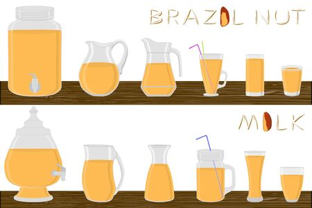 Big kit different types glassware, brazil nut milk in jugs various size. Glassware consisting of organic plastic jugs for fluid brazil nut milk. Jugs of brazil nut milk it glassware standing on table.
