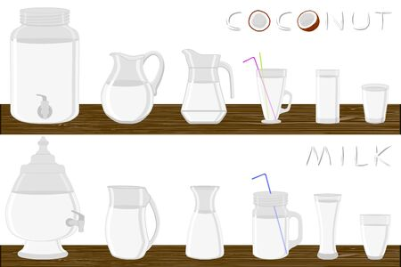 Big kit different types glassware, coconut milk in jugs various size. Glassware consisting of organic plastic jugs for fluid coconut milk. Jugs of coconut milk it glassware standing on wooden table. Stock Illustratie