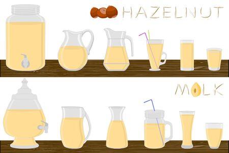 Big kit different types glassware, hazelnut milk in jugs various size. Glassware consisting of organic plastic jugs for fluid hazelnut milk. Jugs of hazelnut milk it glassware standing on wooden table Ilustrace