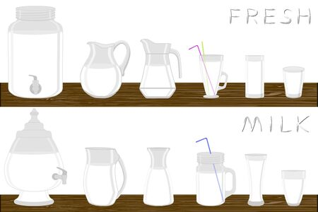 Big kit different types glassware, dairy milk in jugs various size. Glassware consisting of organic plastic jugs for fluid dairy milk. Jugs of dairy bright milk it glassware standing on wooden table.