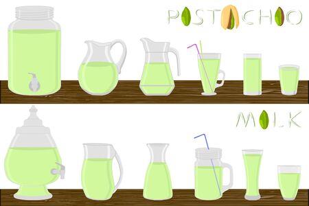 Kit different types glassware, pistachio milk in jugs various size. Glassware consisting of organic plastic jugs for fluid pistachio milk. Jugs of pistachio milk it glassware standing on wooden table.