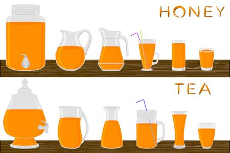 Big kit different types glassware, honey tea in jugs various size. Glassware consisting of organic plastic jugs for fluid honey tea. Jugs of bright honey tea it glassware standing on wooden table.