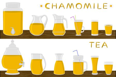 Big kit different types glassware, chamomile tea in jugs various size. Glassware consisting of organic plastic jugs for fluid chamomile tea. Jugs of chamomile tea it glassware standing on wooden table