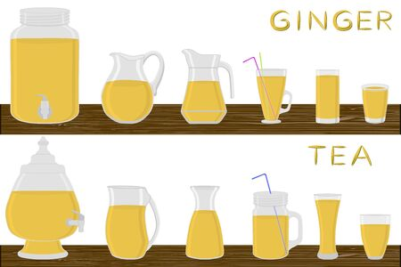 Big kit different types glassware, ginger tea in jugs various size. Glassware consisting of organic plastic jugs for fluid ginger tea. Jugs of bright ginger tea it glassware standing on wooden table.
