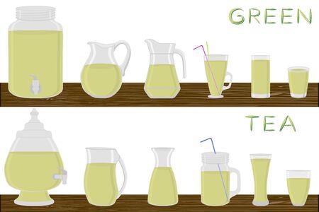 Big kit different types glassware, green tea in jugs various size. Glassware consisting of organic plastic jugs for fluid green tea. Jugs of bright green tea it glassware standing on wooden table.