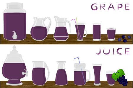 Illustration on theme big kit different types glassware, grape in jugs various size. Glassware consisting of organic plastic jugs for fluid grape. Jugs of grape it glassware standing on wooden table.