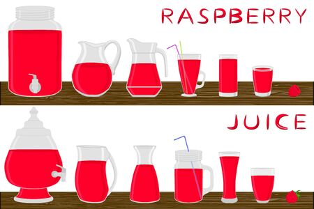 Illustration on theme big kit different types glassware, raspberry jugs various size. Glassware consisting of organic plastic jugs for fluid raspberry. Jugs of raspberry it glassware on wooden table.