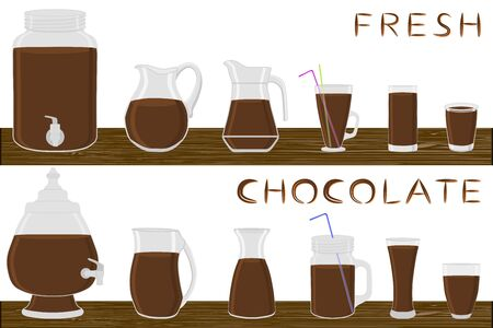 Illustration on theme big kit different types glassware, chocolate jugs various size. Glassware consisting of organic plastic jugs for fluid chocolate. Jugs of chocolate is glassware on wooden table.