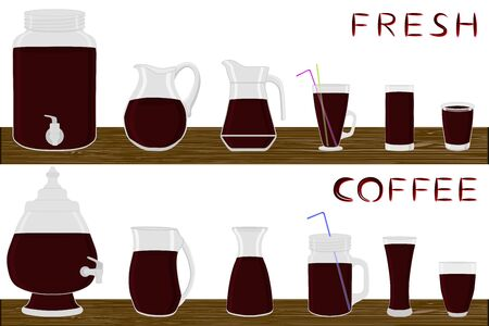 Illustration on theme big kit different types glassware, coffee jugs various size. Glassware consisting of organic plastic jugs for fluid coffee. Jugs of coffee is glassware standing on wooden table.