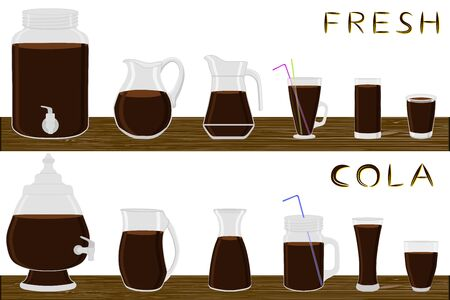 Illustration on theme big kit different types glassware, cola in jugs various size. Glassware consisting of organic plastic jugs for fluid cola. Jugs of cola is glassware standing on wooden table. Stock Illustratie