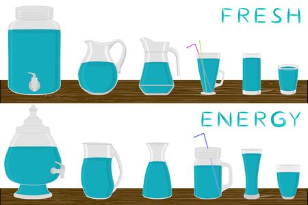 Illustration on theme big kit different types glassware, energy jugs various size. Glassware consisting of organic plastic jugs for fluid energy. Jugs of energy is glassware standing on wooden table.