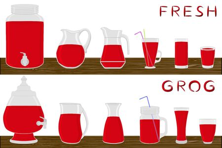 Illustration on theme big kit different types glassware, grog in jugs various size. Glassware consisting of organic plastic jugs for fluid grog. Jugs of grog is glassware standing on wooden table.