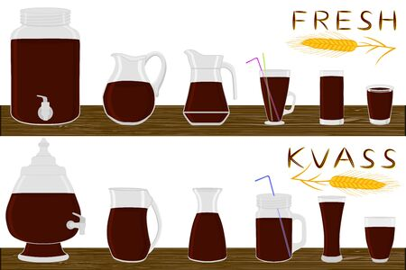 Illustration on theme big kit different types glassware, kvass in jugs various size. Glassware consisting of organic plastic jugs for fluid kvass. Jugs of kvass is glassware standing on wooden table.