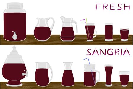 Illustration on theme big kit different types glassware, sangria in jugs various size. Glassware consisting of organic plastic jugs for fluid sangria. Jugs of sangria is glassware on wooden table. Stock Illustratie