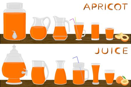 Illustration on theme big kit different types glassware, apricot jugs various size. Glassware consisting of organic plastic jugs for fluid apricot. Jugs apricot it glassware standing on wooden table.