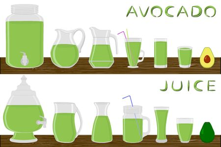 Illustration on theme big kit different types glassware, avocado jugs various size. Glassware consisting of organic plastic jugs for fluid avocado. Jug of avocado it glassware standing on wooden table