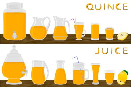 Illustration on theme big kit different types glassware, quince jugs various size. Glassware consisting of organic plastic jugs for fluid quince. Jugs of quince it glassware standing on wooden table.