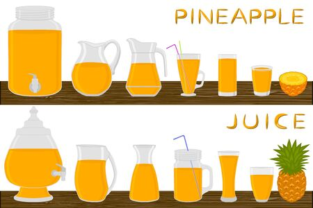 Illustration on theme big kit different types glassware, pineapple jugs various size. Glassware consisting of organic plastic jugs for fluid pineapple. Jugs of pineapple it glassware on wooden table.