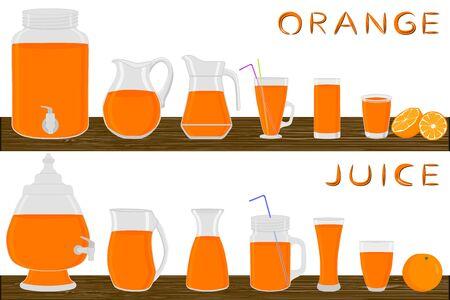 Illustration on theme big kit different types glassware, orange jugs various size. Glassware consisting of organic plastic jugs for fluid orange. Jugs of orange it glassware standing on wooden table.