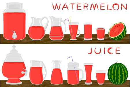 Big kit different types glassware, watermelon in jugs various size. Glassware consisting of organic plastic jugs for fluid watermelon. Jugs of bright watermelon it glassware standing on wooden table. Stock Illustratie