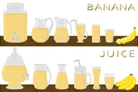 Illustration on theme big kit different types glassware, banana jugs various size. Glassware consisting of organic plastic jugs for fluid banana. Jugs of banana it glassware standing on wooden table.