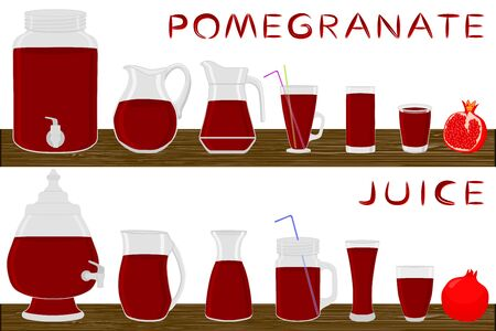 Big kit different types glassware, pomegranate jugs various size. Glassware consisting of organic plastic jugs for fluid pomegranate. Jugs of bright pomegranate it glassware standing on wooden table. Ilustrace