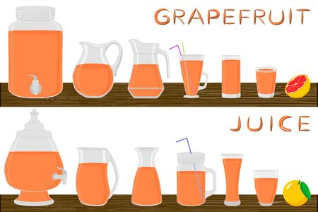 Illustration on theme big kit different types glassware, grapefruit jugs various size. Glassware consisting of organic plastic jugs for fluid grapefruit. Jug of grapefruit it glassware on wooden table