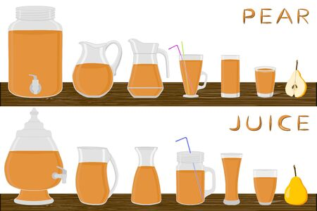 Illustration on theme big kit different types glassware, pear in jugs various size. Glassware consisting of organic plastic jugs for fluid pear. Jugs of pear it glassware standing on wooden table. Stock Illustratie