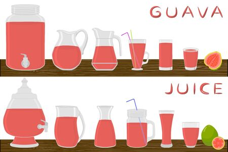 Illustration on theme big kit different types glassware, guava in jugs various size. Glassware consisting of organic plastic jugs for fluid guava. Jugs of guava it glassware standing on wooden table. Stock Illustratie