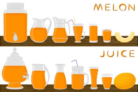 Illustration on theme big kit different types glassware, melon in jugs various size. Glassware consisting of organic plastic jugs for fluid melon. Jugs of melon it glassware standing on wooden table. Stock Illustratie