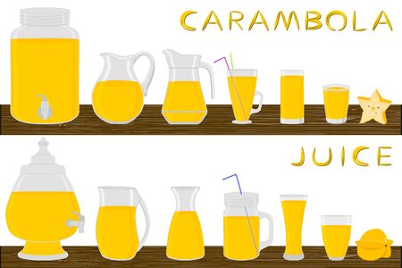 Illustration on theme big kit different types glassware, carambola jugs various size. Glassware consisting of organic plastic jugs for fluid carambola. Jugs of carambola it glassware on wooden table.