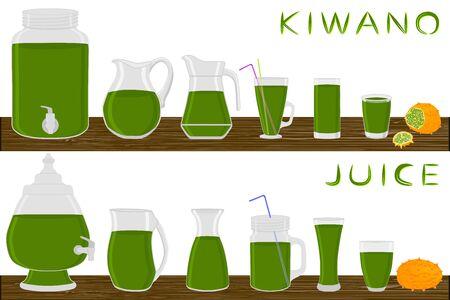 Illustration on theme big kit different types glassware, kiwano jugs various size. Glassware consisting of organic plastic jugs for fluid kiwano. Jugs of kiwano it glassware standing on wooden table. Stock Illustratie
