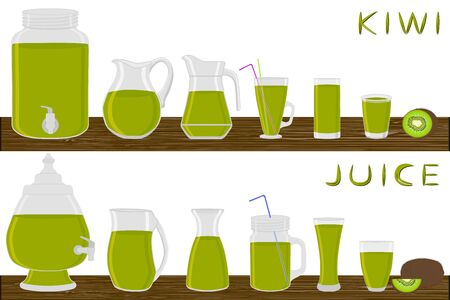 Illustration on theme big kit different types glassware, kiwi jugs various size. Glassware consisting of organic plastic jugs for fluid kiwi. Jugs of bright kiwi it glassware standing on wooden table.