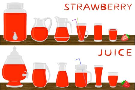 Big kit different types glassware, strawberry in jugs various size. Glassware consisting of organic plastic jugs for fluid strawberry. Jugs of bright strawberry it glassware standing on wooden table. Ilustración de vector