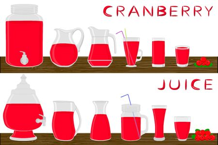 Big kit different types glassware, cranberry in jugs various size. Glassware consisting of organic plastic jugs for fluid cranberry. Jugs of bright cranberry it glassware standing on wooden table.