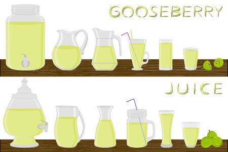 Big kit different types glassware, gooseberry in jugs various size. Glassware consisting of organic plastic jugs for fluid gooseberry. Jugs of bright gooseberry it glassware standing on wooden table.