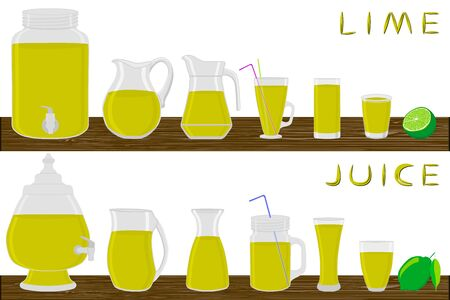 Illustration on theme big kit different types glassware, lime in jugs various size. Glassware consisting of organic plastic jugs for fluid lime. Jugs of lime it glassware standing on wooden table.