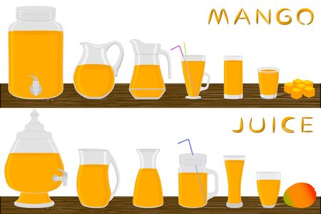 Illustration on theme big kit different types glassware, mango jugs various size. Glassware consisting of organic plastic jugs for fluid mango. Jugs of mango it glassware standing on wooden table.
