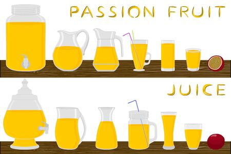 Big kit different types glassware, passion fruit jugs various size. Glassware consisting of organic plastic jugs for fluid passion fruit. Jugs of passion fruit it glassware standing on wooden table.