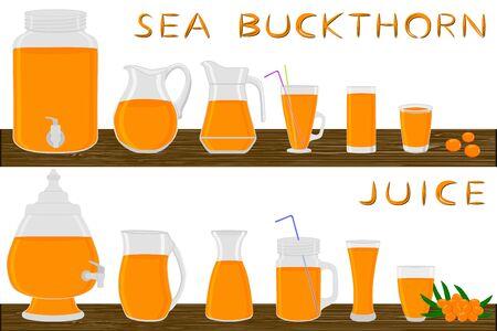Big kit different types glassware, sea buckthorn jugs various size. Glassware consisting of organic plastic jugs for fluid sea buckthorn. Jugs of sea buckthorn it glassware standing on wooden table. Stock Illustratie